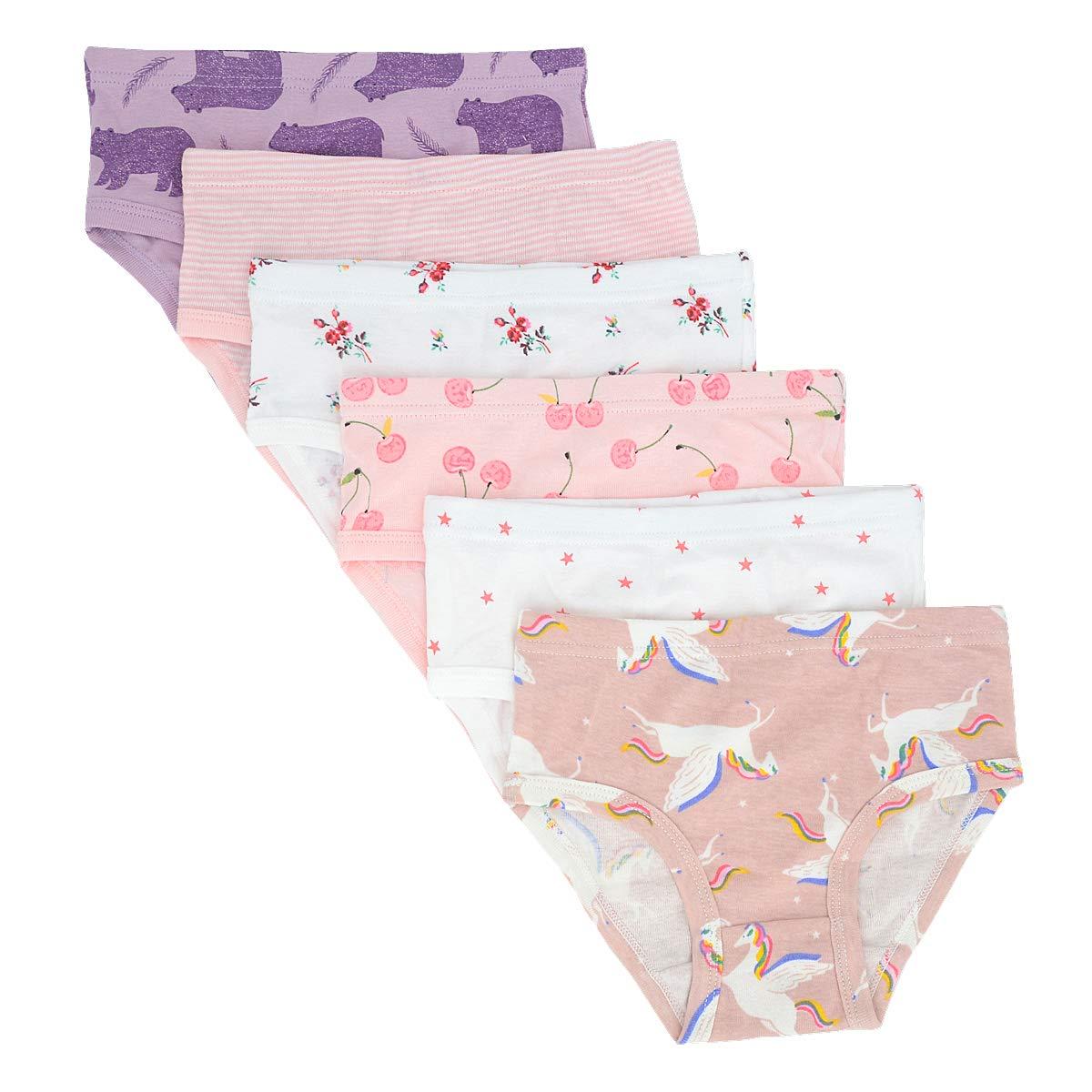 muyan Baby Soft Cotton Underwear Little GirlsBriefs Toddler Undies Pack of 6