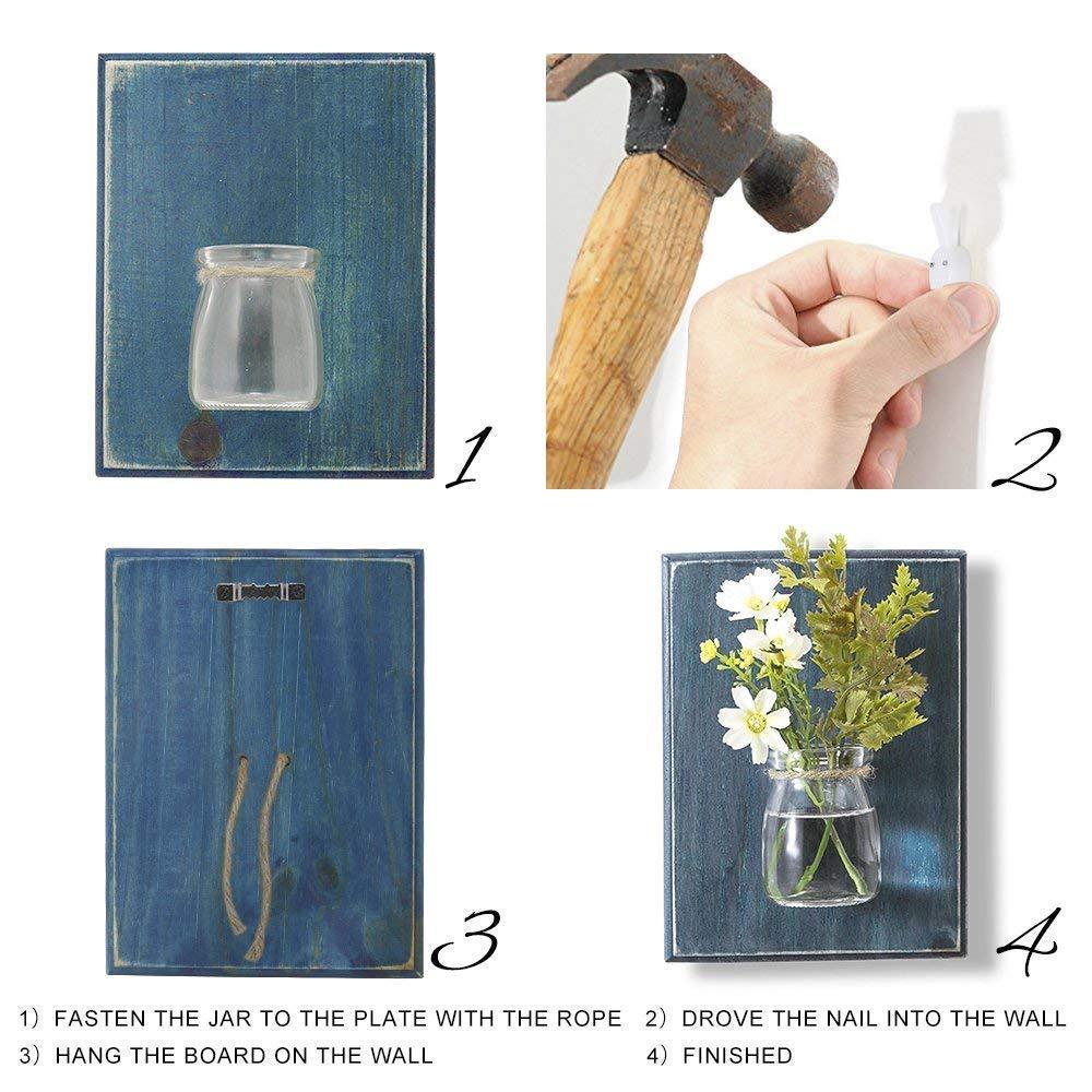 WOOD MEETS Farbe Wandvasen Creative Handarbeit Handarbeit Handarbeit Vasen, hängende Dekoration Vasen, Wand-Pflanzgefäß, Blaumen Container, Home, ohne Blaume navy (HellRosa) B01HPCGFBI Vasen 2c9688