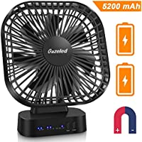 Gazeled Battery Operated Fan, Portable Fans with 5200mAh Rechargeable Battery, USB Desk Fan with Timer, Super Quiet, Personal Cooling Fan for Table, Home, Office-Longest Woking Time 40 Hours