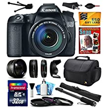 """Canon EOS 70D Digital SLR Camera with 18-135mm STM Lens includes 32GB Memory + 2.2x Telephoto + 0.43x Wide Angle Lens + Hood + UV-CPL-FL Filters + 67"""" Monopod + Photography Guide + Cleaning Kit (32GB"""