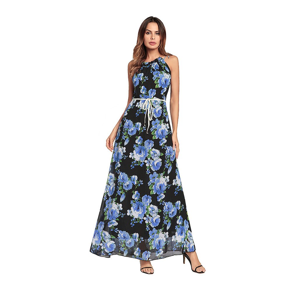 bluee Lady's Dress Woman's Dresses Hanging Neck Belts Sleeveless Long Dress Irregular Printing Sweet Bridesmaid Evening Gown New Spring And Summer Woman's Clothing Temperament ( color   Red , Size   M )