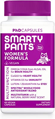 SmartyPants Daily Multivitamin for Women: Vitamin D, C, D3, E, B12 for Energy, COQ10, Omega 3 DHA, Iodine, Lutein, Folate, Ve