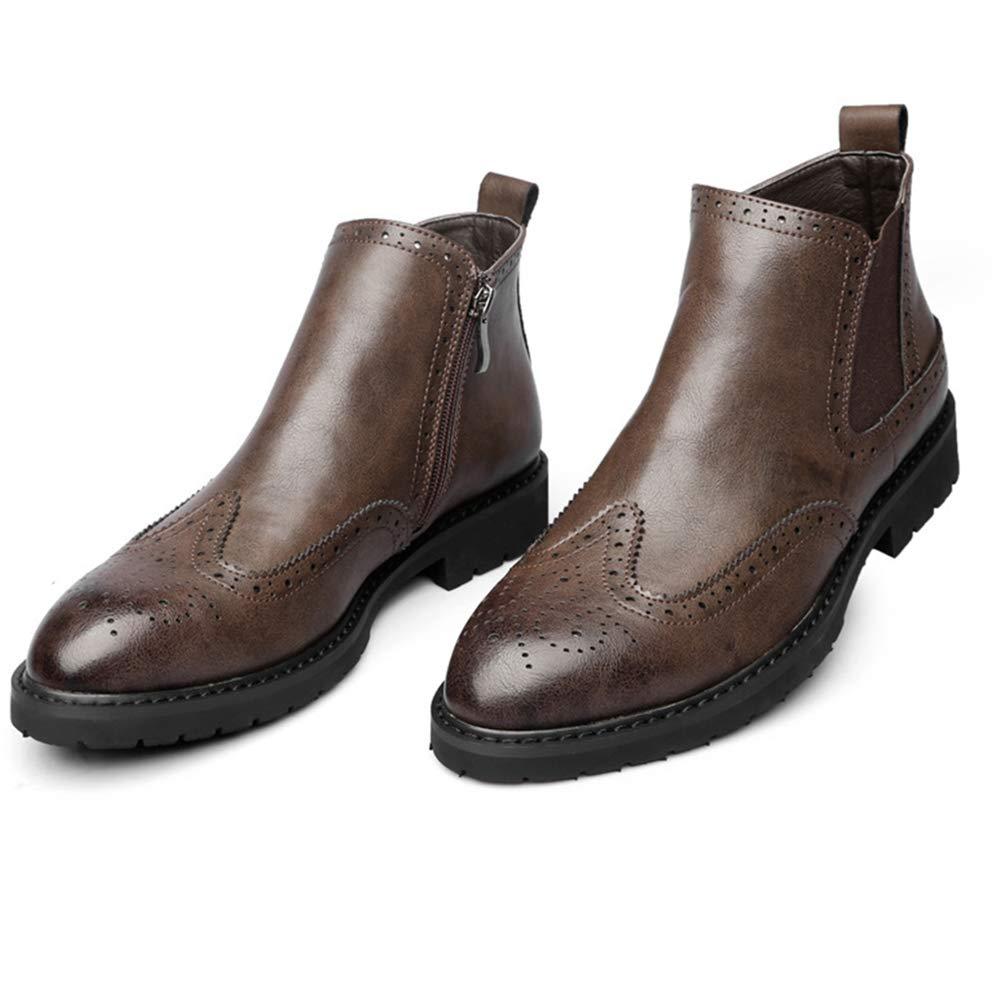 LDZY Männlichen Casual Stiefeletten Brogues Vintage Spitz Zipper Abendgesellschaft Schuhe Chelsea Formale Arbeit Büro Urlaub Chelsea Schuhe Stiefel Brown 2e3117