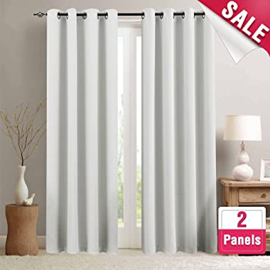 Moderate Blackout Curtains for Bedroom Room Darkening Window Curtain Panels for Living Room 95 inches Long Thermal Insulated Grommet Top Triple Weave Drapes, 1 Pair, Greyish White