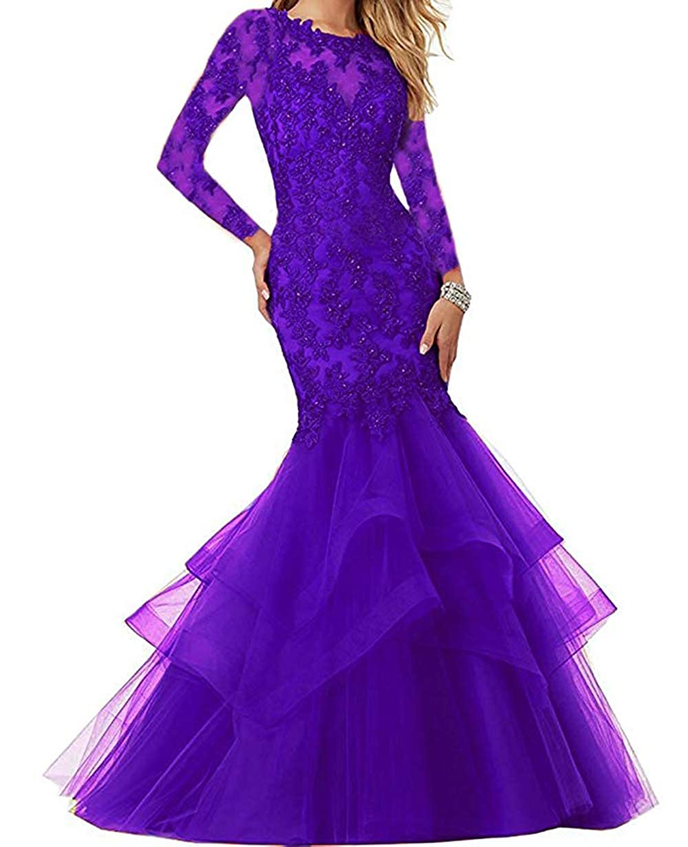 Dark Purple Women's Mermaid Prom Dresses Beaded Lace Appliques Formal Evening Gowns Long Sleeves