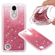 LG Aristo (MS210) / LG LV3 / LG K8 2017 Cover Case, Liquid Case, Asstar Fashion Creative Design Flowing Liquid Floating Luxury Bling Glitter Sparkle Diamond Soft Case For LG V3/MS210 (Rose gold)
