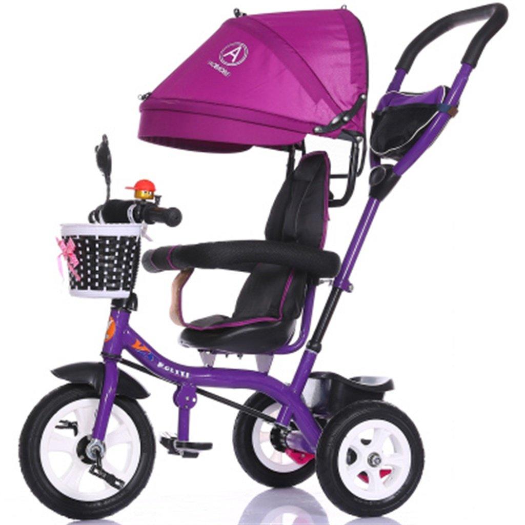Multifunción de lujo 4 en 1 Triciclo de niño Bicicleta de niño Bicicleta de niña en 6 meses - Bebé de 6 años Trolley de tres ruedas con empuñadura para padres y toldos   Amortiguación   Neumát