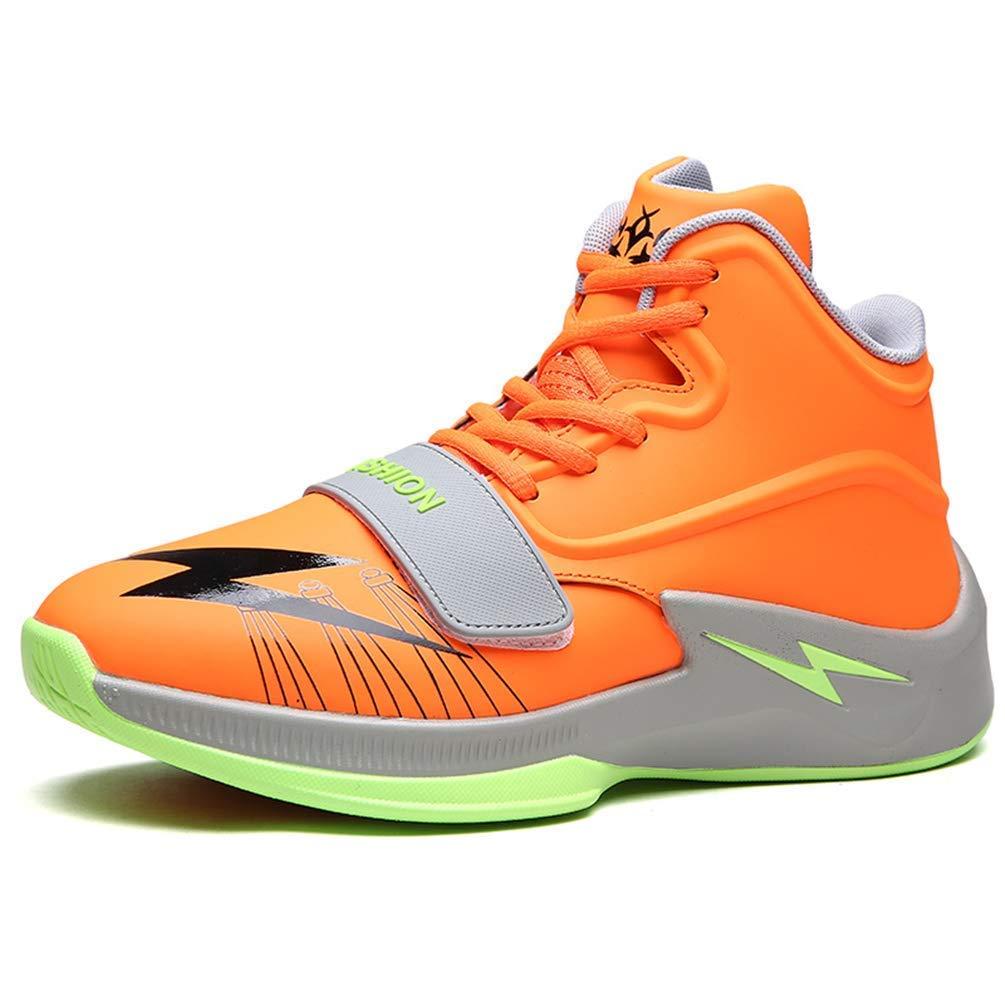 ZHRUI Männer Basketball Schuhe Atmungsaktiv Outdoor Athletic Training Dämpfung Rutschfeste Ankle Sport Stiefel Männliche Turnschuhe (Farbe   Orange, Größe   5.5=39 EU)