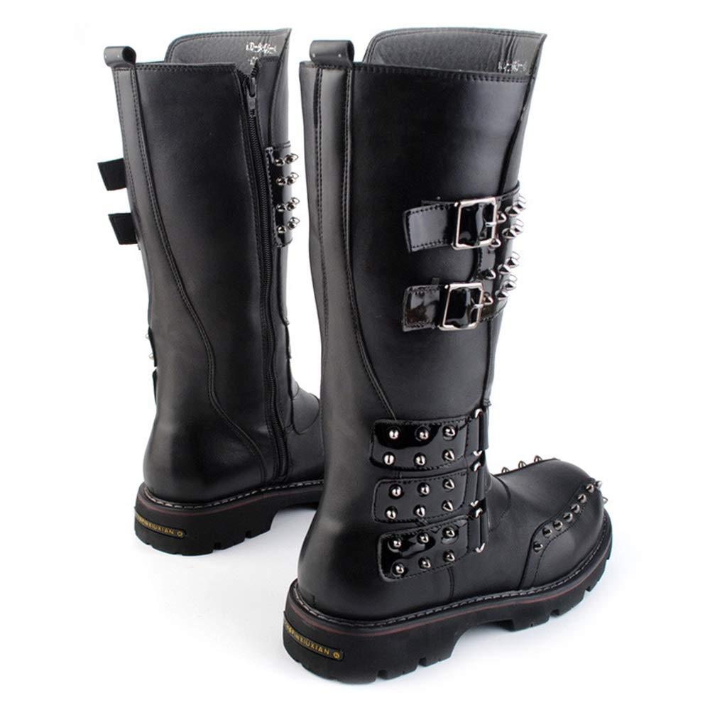 Jaypar Herrenmode Motorradstiefel Lässige Matte Nieten Für Einzelne Nähte Kniehohe Kniehohe Kniehohe Stiefel Hohe Beinstiefel (Farbe   Schwarz, Größe   43 EU) cfe89a