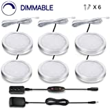 LIT-PaTH LED Cabinet Puck Lighting Fixture, 12W 1020 Lumens, Dimmable Under Counter Light for Kitchen Closet Lighting, 6-Pack
