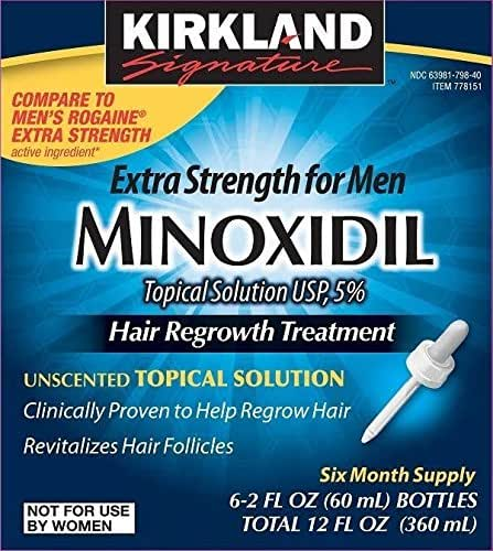 Minoxidil for Men 5% Minoxidil Hair Regrowth Treatment 12 Months Supply Unscented 1 Year