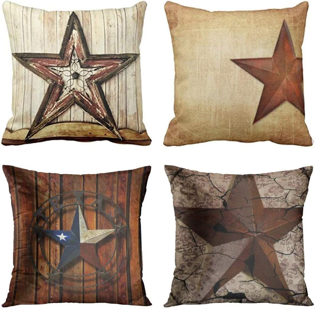 Emvency Set of 4 Throw Pillow Covers Rustic Country Western Star Barn Texas Wooden Cabin West Primitive Decorative Pillow Cases Home Decor Square 18x18 Inches Pillowcases