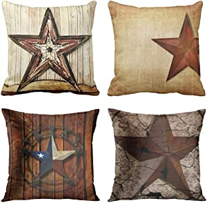 Emvency Set of 4 Throw Pillow Covers Rustic Country Western Star Barn Texas Wooden Cabin West Primitive Decorative Pillow Cases Home Decor Square 20x20 Inches Pillowcases