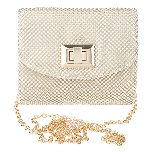 La Regale Ball Mesh Mini Evening Clutch Handbag Purse with Cross Body Strap - Mesh Evening Bag Purse