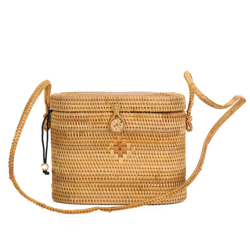 Women's Bag, Rattan Bag - Medicine Box Style - Cosmetic Crossbody Bag - Travel Beach Bag - Hand-Woven Bag by BHM (Image #1)