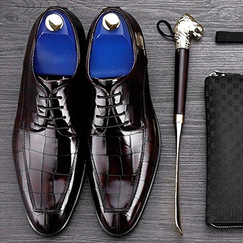 HWF Scarpe Uomo in Pelle British Style Maschio commerciali scarpe casual in pelle formale Scarpe da uomo Wear Lace (Colore : Rosso scuro, dimensioni : EU39/UK6) Rosso Scuro