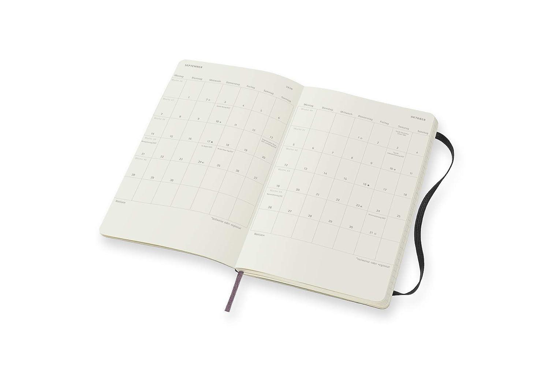 Taschenkalender Deutsch Moleskine Wochen Notizkalender Schwarz mit Feiertagen und Ferientagen f/ür Deutschland//Schweiz///Österreich Soft Cover 2020 Pocket A6 12 Monate