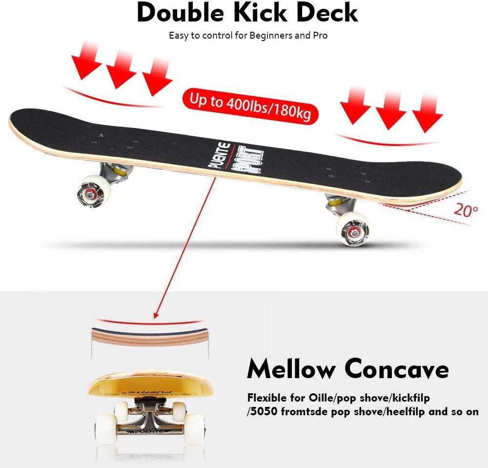 7 Layer Canadian Maple Wood Double Kick Concave Skateboards Tricks Skate Board for Beginners YF YOUFU Skateboard Complete 31 Inch Pro Skateboards
