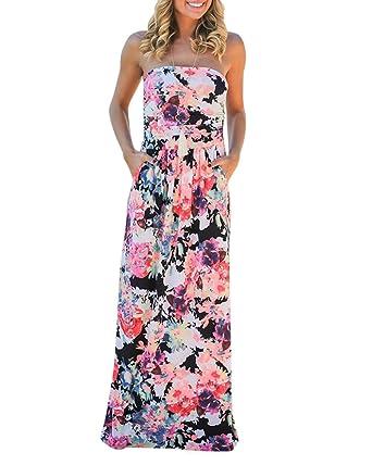 591b8913ca Femmes Robes Tropical Longue Robe De Plage Maxi Robe Bustier Imprimé Floral  Bandeau sans Bretelle Noir