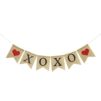 Amazon Com Xoxo Burlap Banner Rustic Valentines Day Decorations