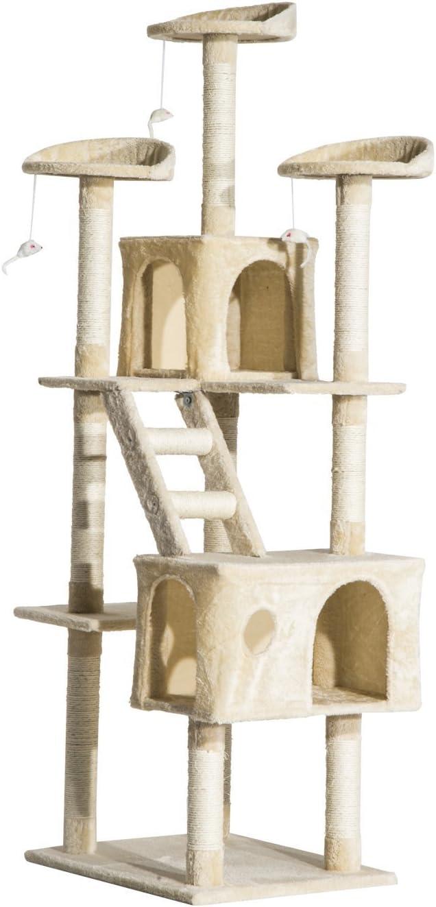 Pawhut Rascador Gato Altura 180x60x50cm Arbol Poste Gato Arañar Centro Actividad Beige: Amazon.es: Productos para mascotas