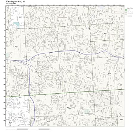 Amazoncom ZIP Code Wall Map of Farmington Hills MI ZIP Code Map