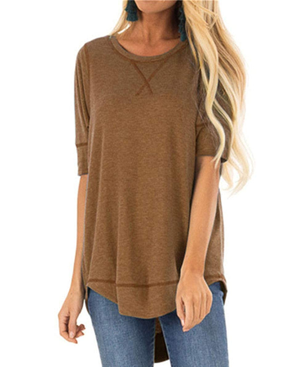 Fanfly Summer Tops for Women Short Sleeve Side Split Casual Plus Size Loose Tunic Top