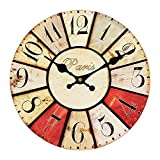 NUTK Vintage Silent Wall Clock, 14-Inch Decorative Round Retro Wooden Wall Clocks Non-Ticking for Kitchen Living Room Bathroom Bedroom Wall Decor