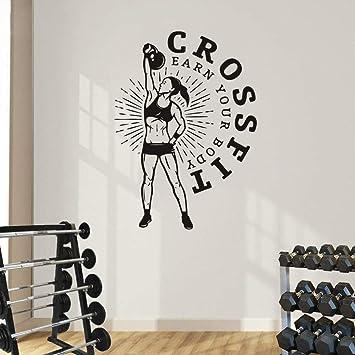 Pegatinas De Pared Crossfit Fitness Gym Mujeres Deporte Decoración Para El Hogar Sala De Estar Club Finess: Amazon.es: Bricolaje y herramientas