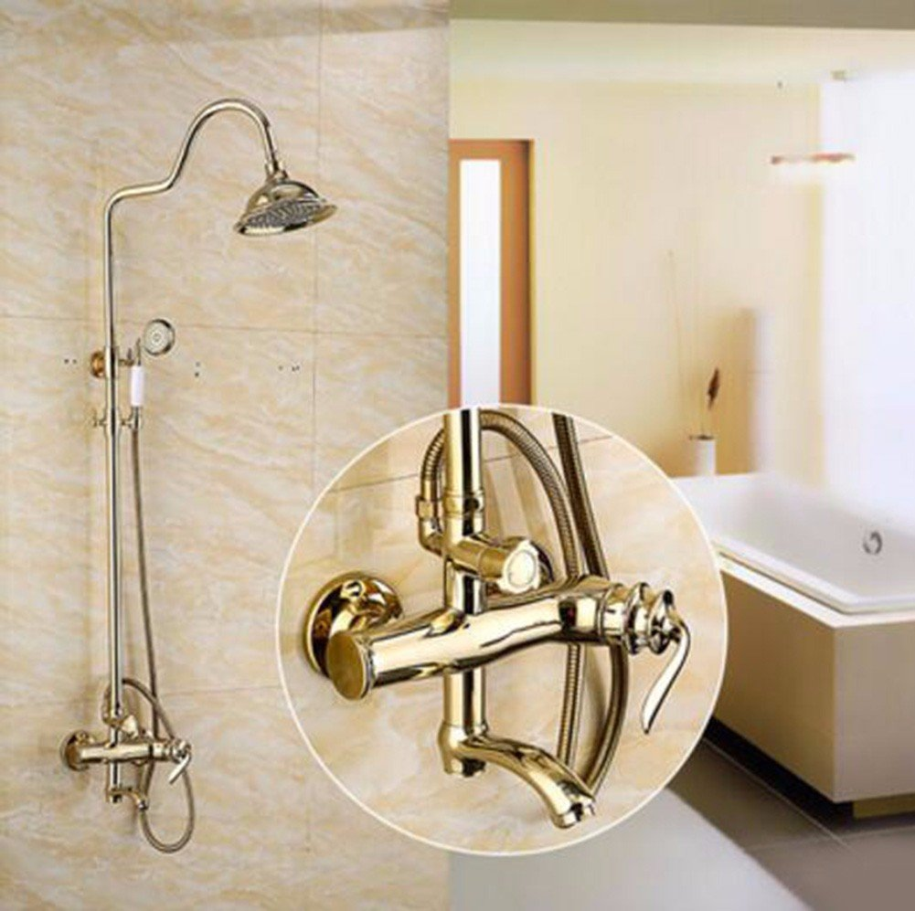 Amazon.com: SJQKA Shower Head Full Copper Retro European Style Antique  Lamp, Golden Shower, Shower Suite: Home & Kitchen