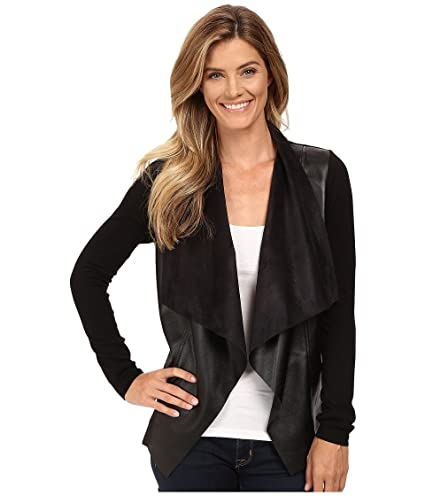 e75d1dae7f3 Amazon.com   Michael Michael Kors Womens Faux Leather Coated Cardigan Top  Black M   Everything Else