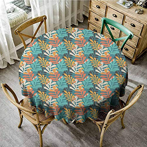 Contemporary Leaf Silhouette - Rank-T Small Round Tablecloth 70