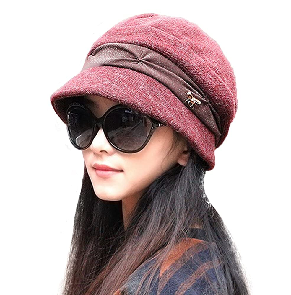 Knitted Cloche Hat Pleated Flapper Womens Ladies Winter Hat Short Brim Cap-Multicolor Dark Red Doublebulls DH1571F