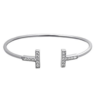 37de9865b85 925 Sterling Silver T Cuff Bracelet Boho Minimal Double T Cuff,Dainty  Adjustable Bangle Elegant