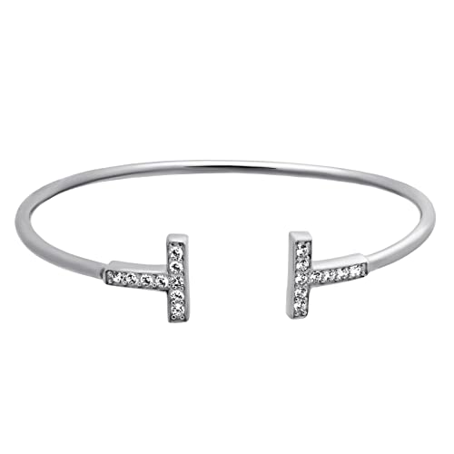 925 Sterling Silver T Cuff Bracelet Boho Minimal Double T Cuff,Dainty Adjustable Bangle Elegant T Bar Bracelet CZ Crystal Simple Minimalist Wrap Bracelet 9 gram Gift For Her
