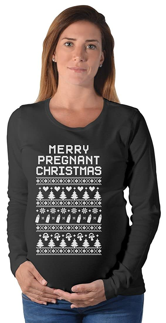 Merry Pregnant Christmas - Funny Ugly Xmas Sweater Maternity Long ...