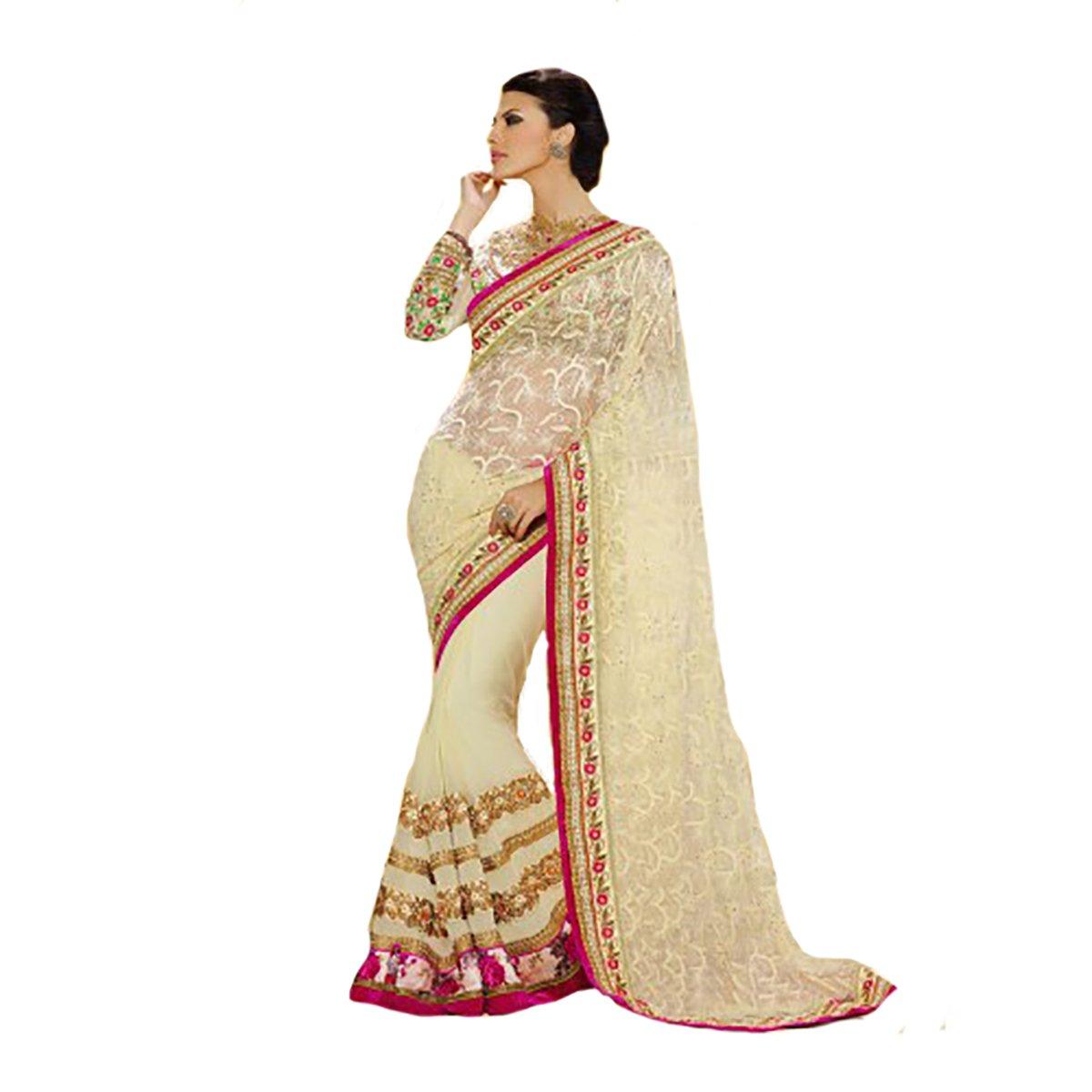 Designer Work Original Ethnic Bollywood Indian Bridal Wedding Sari Saree Traditional White Sexy 8308