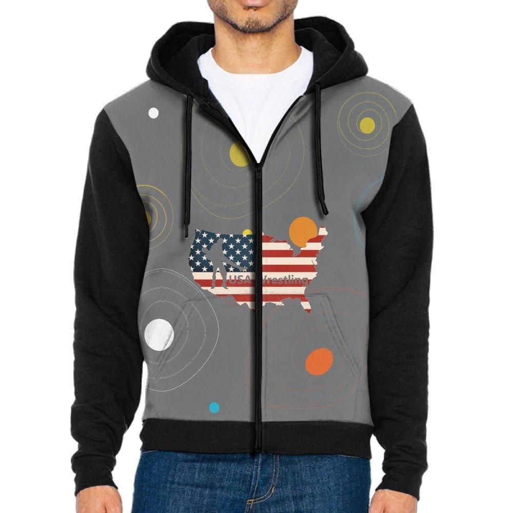 YUY Hoodie USA Wrestling Men Graphic Pocket Contrast Color Sweatshirt by YUY Hoodie