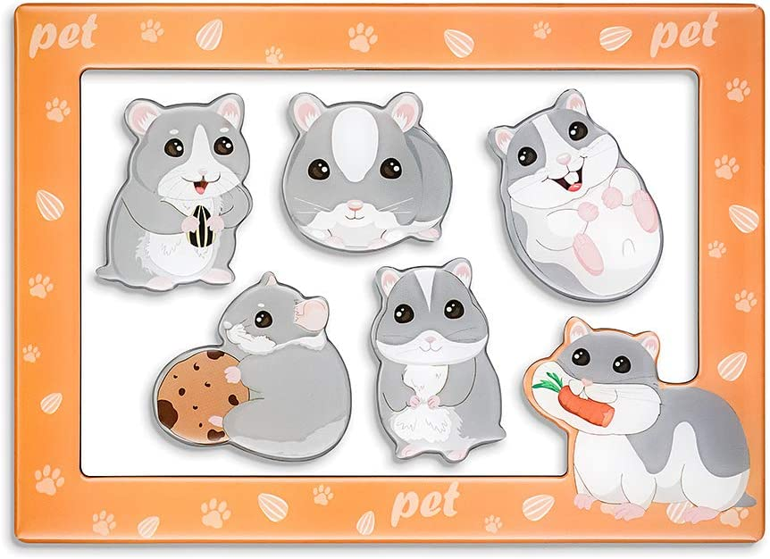 Morcart Hamster Magnets And 4x6 Inches Magnetic Photo Frame 6 Pcak Animal Fridge Magnets Set Decoration for Fridge Home classroom Office,Best Gift Choice