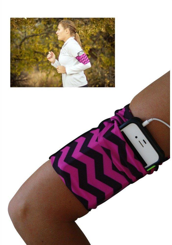 B01G7QSX86 Raspberry Chevron Cell Phone Armband 61k-2ubJEJL