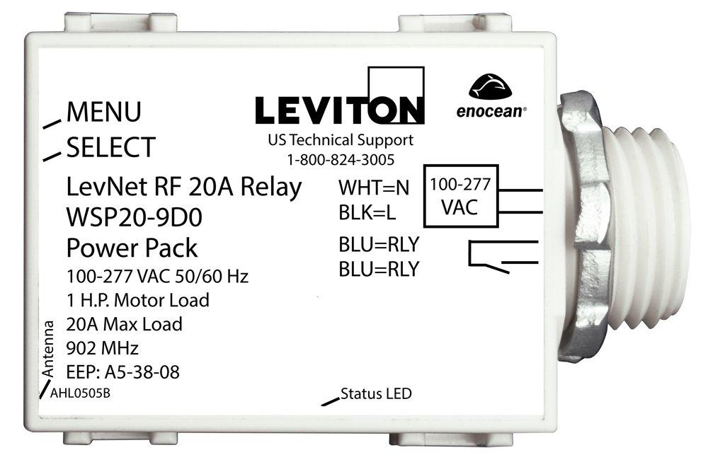 Leviton WSP20-9D0 LevNet RF 902 MHz Line Voltage Relay Receiver, 100-277V, 50/60 Hz