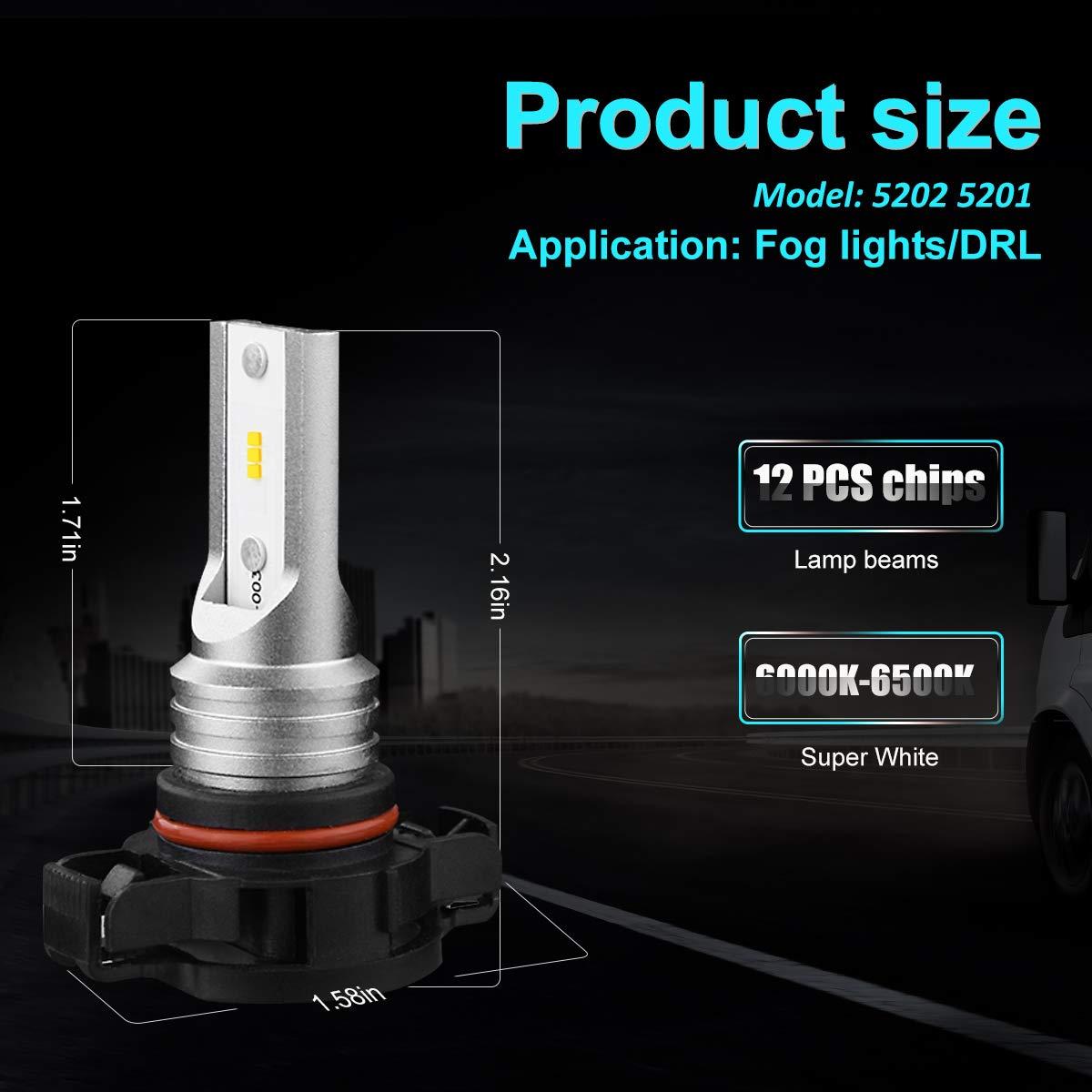 5202 5201 LED Fog Light Bulbs PS19W CSP High Power LED Fog Lamps Bulbs for DRL or Fog Lights Xenon White