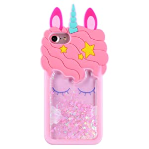 Mulafnxal Quicksand Unicorn Case for iPhone 7 8 6,Soft Silicone 3D Cartoon Cute Animal Cover,Kids Girls Bling Glitter Vivid Unique Rubber Kawaii Character Fashion Protective Protector for iPhone6S 7 8