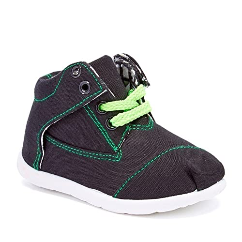 b552825cea305 Boys Girls Black Green Stitch Textile Lace Up Mid-Top Sneakers 1 Kids