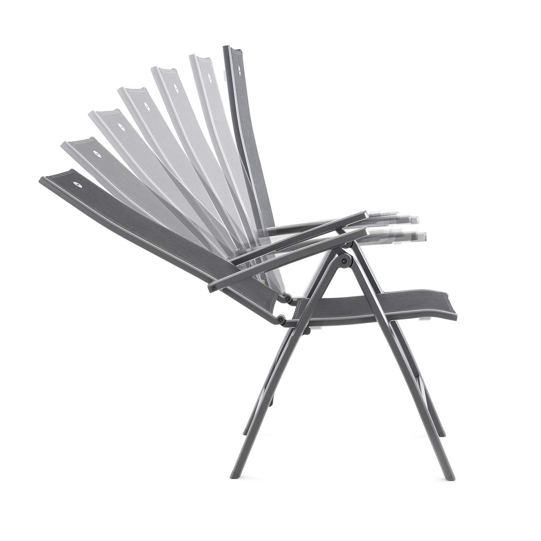 MACOShopde by MACO M/öbel Hartman Alice Comfort Gartenstuhl Aluminium//Textil mit Armlehnen verstellbar grau//schwarz wetterfest