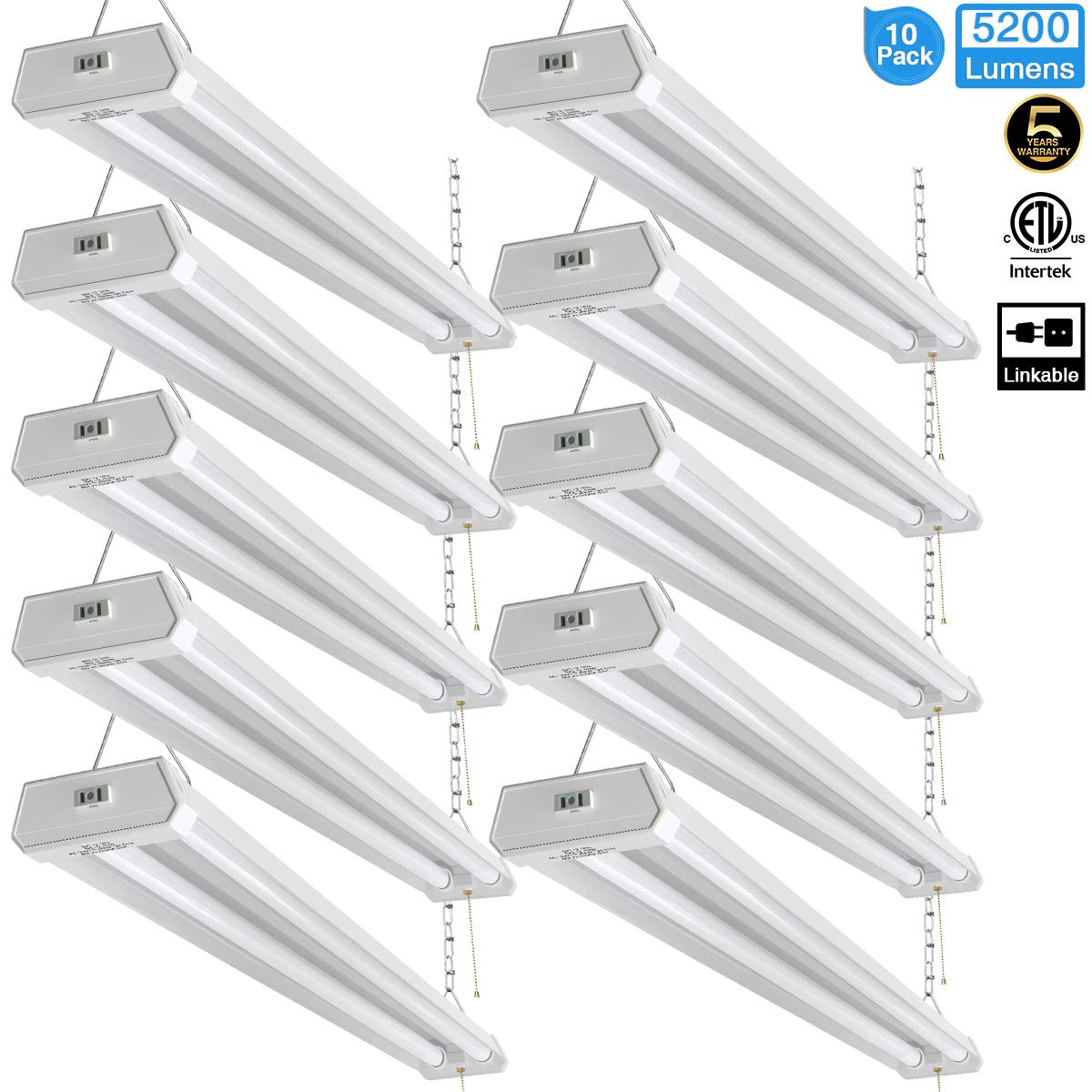 Linkable LED Shop Light for Garage, 42W 5200lm 4FT, 6000-6500K Daylight White, with Pull Chain (ON/Off) cETLus Listed, 5-Year-Warranty, 6000K (10PK)