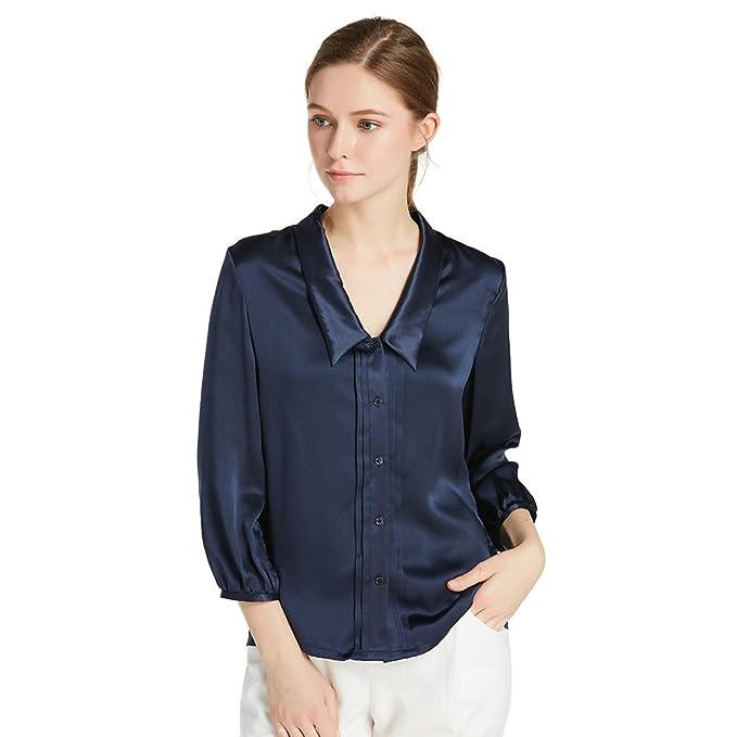 Lilysilk Blusa de Seda con Cuello Chelsea-Camisa 100% Seda Natural DE 22 Momme