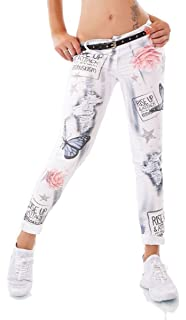 Moderne Chino-Hose Jeanshose bunte Traumfänger-Prints in weiß