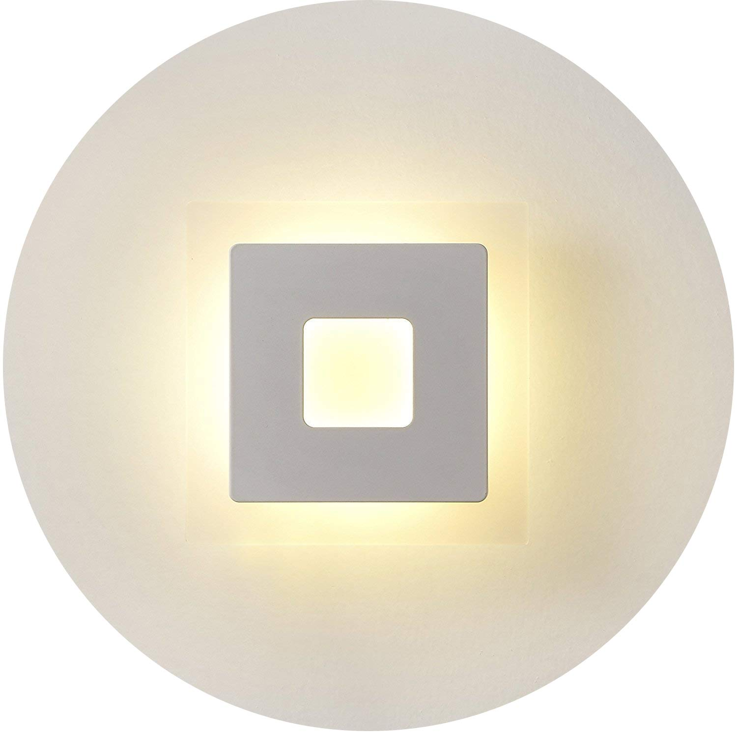 Topmo Modern 18w Acrylic LED Wall Sconces Aluminum Lights Decorative Lamps Night Light for Pathway, Staircase, Bedroom, Balcony,Drive Way,Warm White(3000K) 1260LM 16 x 16 x 4CM