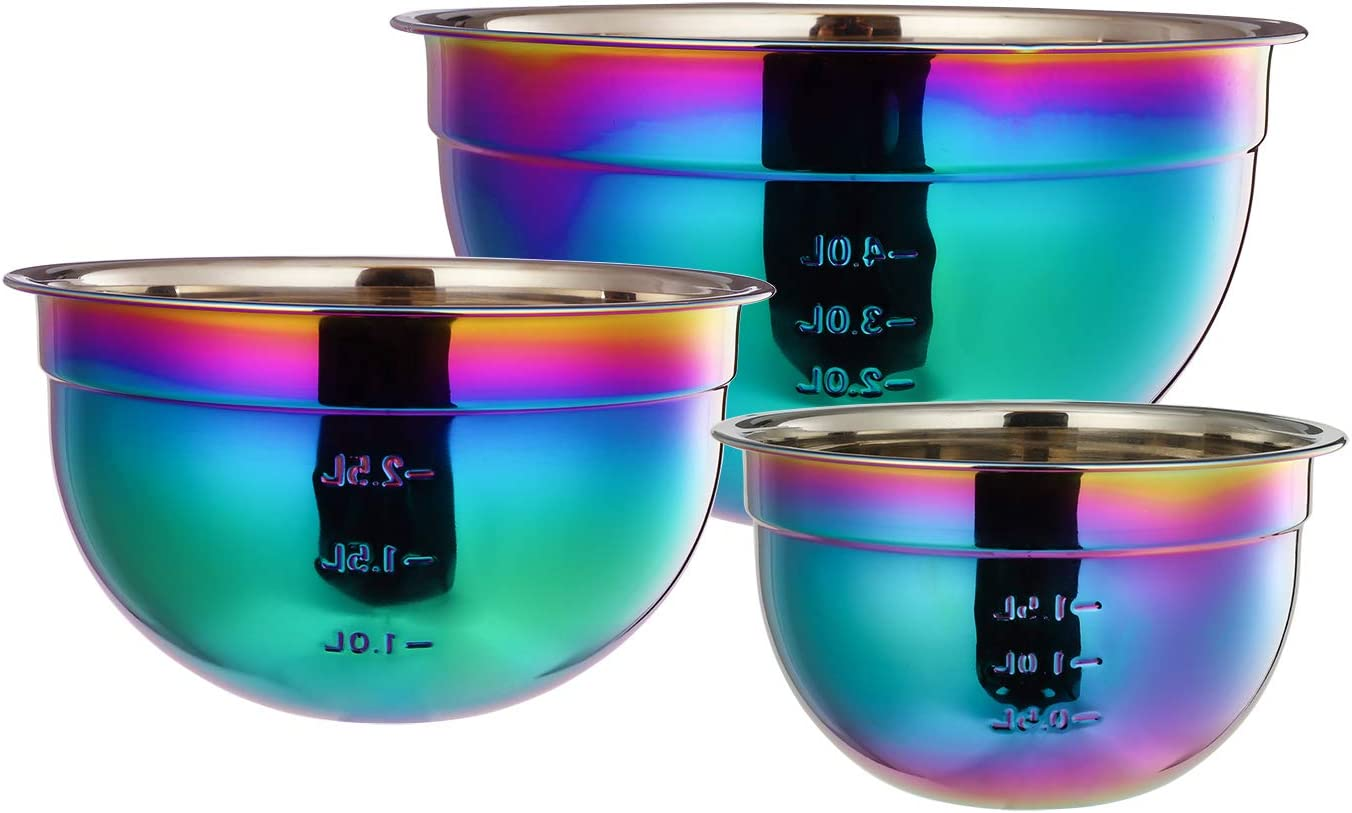 Mixing Bowls for Kitchen 3 Piece Rainbow 18/8 Stainless Steel Nesting Salad Bowl Set with Measurement for Cooking Baking Chef Prep Fruit 1.5 2.5 4 Liter